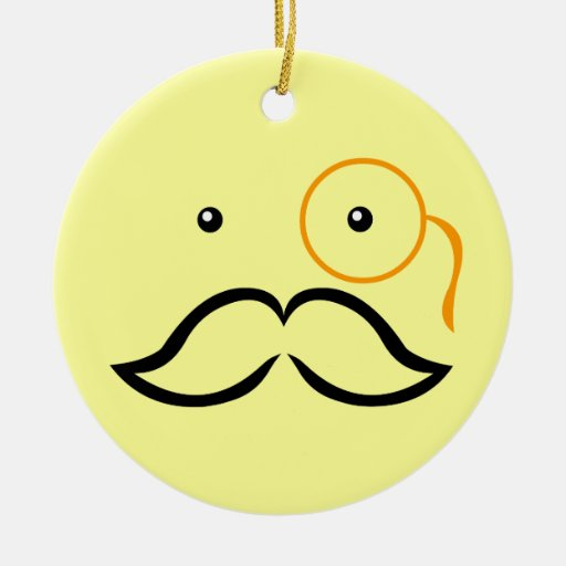 Monocle and Mustache Christmas Ornament