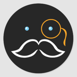 Round Sticker with Stylized Monocle and Mustache  design