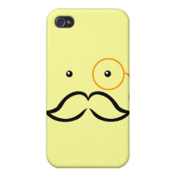 Case Savvy iPhone 4 Matte Finish Case with Stylized Monocle and Mustache  design
