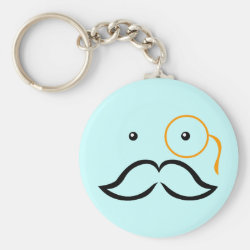 Basic Button Keychain with Stylized Monocle and Mustache  design