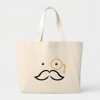 Monocle and Mustache Large Tote Bag