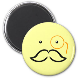 Round Magnet with Stylized Monocle and Mustache  design