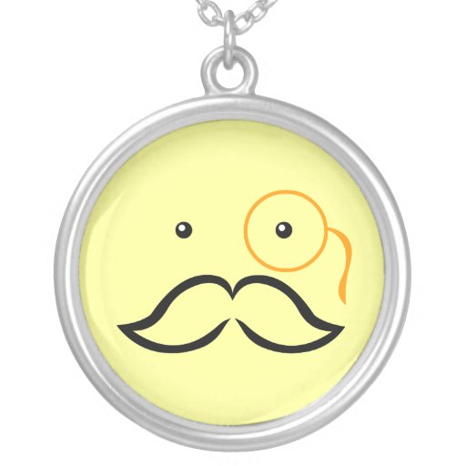 Monocle and Mustache Round Pendant Necklace