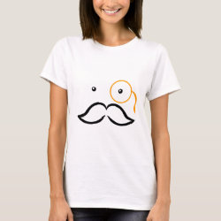 Women's Basic T-Shirt with Stylized Monocle and Mustache  design
