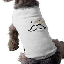 Dog Ringer T-Shirt with Stylized Monocle and Mustache  design