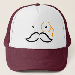 Trucker Hat with Stylized Monocle and Mustache  design