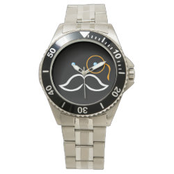 Men's Stainless Steel Bracelet Watch with Stylized Monocle and Mustache  design