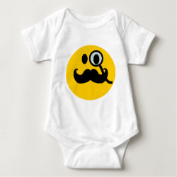 Baby Jersey Bodysuit with Mustache with Monocle Smiley design