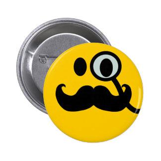 Monocle & Mustache Smiley (Customizable backgrnd) Pinback Button