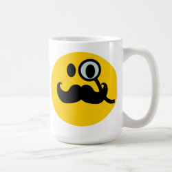 Classic White Mug with Mustache with Monocle Smiley design