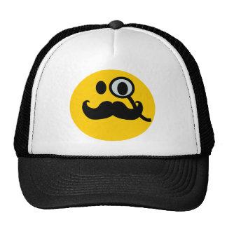 Monocle & Mustache Smiley (Customizable backgrnd) Trucker Hat