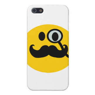 Monocle & Mustache Smiley (Customizable backgrnd) iPhone 5 Cases