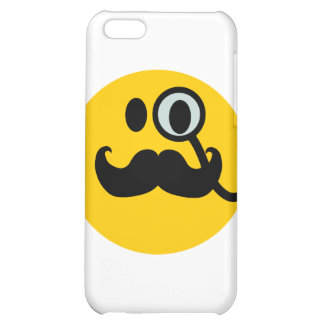 Monocle & Mustache Smiley (Customizable backgrnd) iPhone 5C Covers