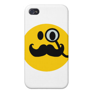 Monocle & Mustache Smiley (Customizable backgrnd) iPhone 4/4S Case