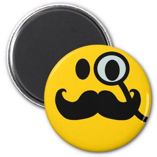 Monocle & Mustache Smiley (Customizable backgrnd) Refrigerator Magnet