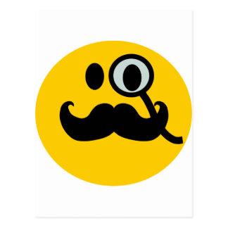 Monocle & Mustache Smiley (Customizable backgrnd) Postcard