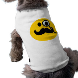 Dog Ringer T-Shirt with Mustache with Monocle Smiley design