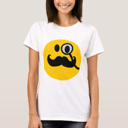 Women's Basic T-Shirt with Mustache with Monocle Smiley design