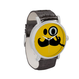 Monocle & Mustache Smiley face Wrist Watches
