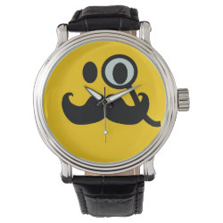 Men's Vintage Black Leather Strap Watch with Mustache with Monocle Smiley design