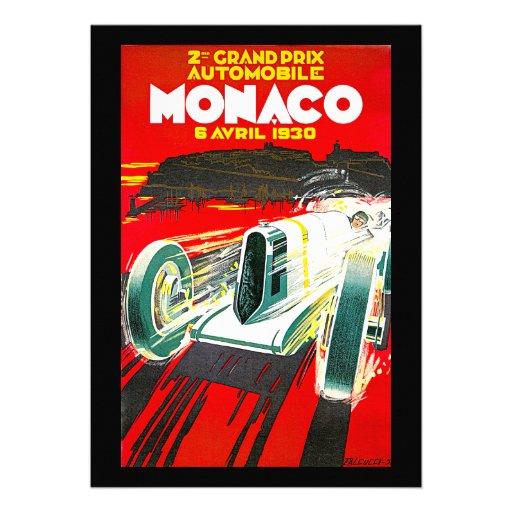 Monoco Grand Prix Vintage Travel Advertisement Invite