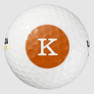 Monocromático durable anaranjado quemada monograma pack de pelotas de golf