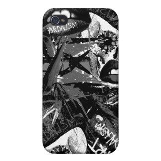 Monocromo de Art vandalism iPhone 4 Carcasas
