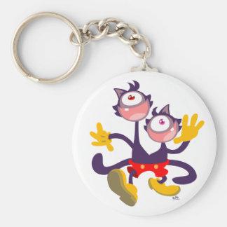 Monocular Cats in Tandem Walk keychain
