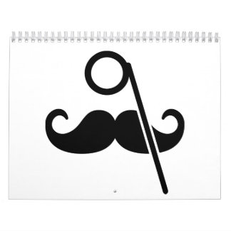 Monóculo del bigote calendario de pared