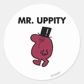 Monóculo y sombrero de copa de Sr. Uppity el   Pegatina Redonda