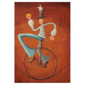 monocycle magician wood poster