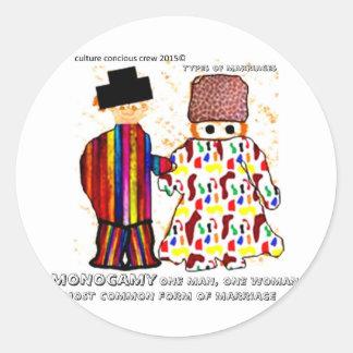 monogamy.jpg classic round sticker