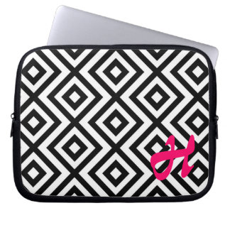MonograBlack and white chevron pattern laptop case Laptop Computer Sleeve