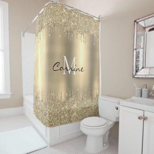 Monogram 14k Gold Dbl Dripping Glitter Metallic Shower Curtain