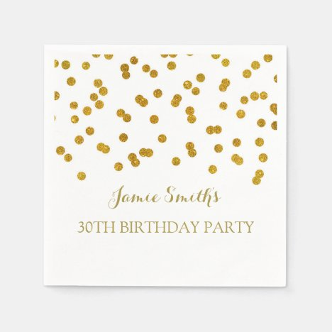 Monogram 30th Birthday Napkin Gold confetti