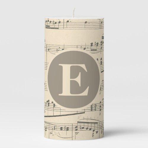 Monogram 3x6 Vintage Antique Sheet Music Pillar Candle