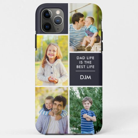 Monogram 4 Photo Dad Life is the Best Life Blue iPhone 11 Pro Max Case