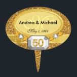 """Monogram 50th Wedding Anniversary Cake Toppers<br><div class=""""desc"""">This Bling! Monogram 50th Wedding Anniversary Cake Topper is a wonderful addition to any golden anniversary celebration. Measuring 4"""" in diameter, it is intended for a small or medium size cake. It has a gold glitter texture background, courtesy of SonjaDeHartDesign on Etsy, and includes gold """"50"""" and gem stones. Print...</div>"""