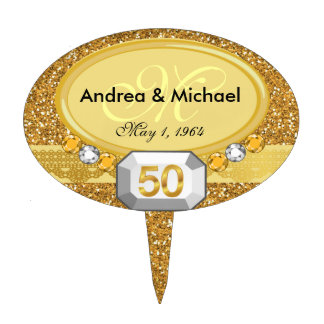 Monogram 50th Wedding Anniversary Cake Toppers