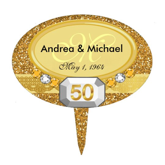 Monogram 50th Wedding Anniversary Cake Toppers | Zazzle.com
