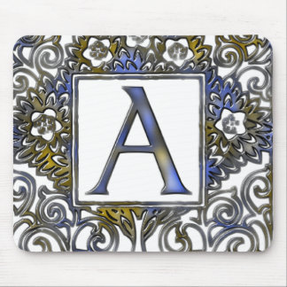 Monogram A- blue and brown Mouse Pad