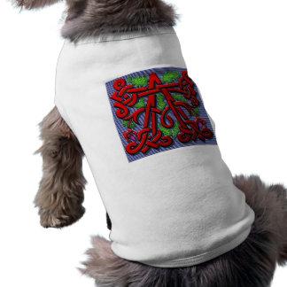 monogram A carved wood leaf floral Dog Tee Shirt
