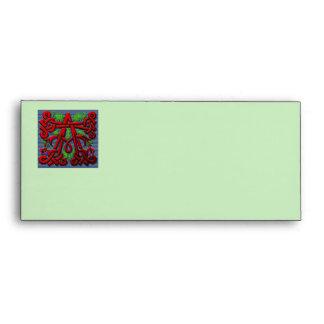 monogram A carved wood leaf floral Envelope