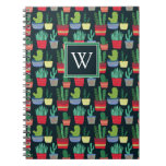 Monogram   A Crowd of Cactus Spiral Notebook