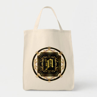 Monogram A Customize Edit Change Background Color Tote Bag