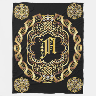 Monogram A CUSTOMIZE To Change Background Color Fleece Blanket