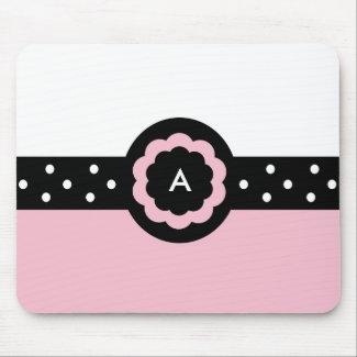 Monogram A Dotted Pink & White Mousepad mousepad