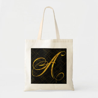 Monogram A Faux Gold Foil Metallic Letter Design Tote Bag