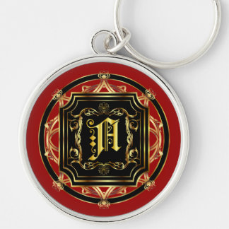 Monogram A Fits all Customize Edit For Back Color Silver-Colored Round Keychain