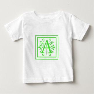 MONOGRAM A FLORESCENT GREEN BABY T-Shirt